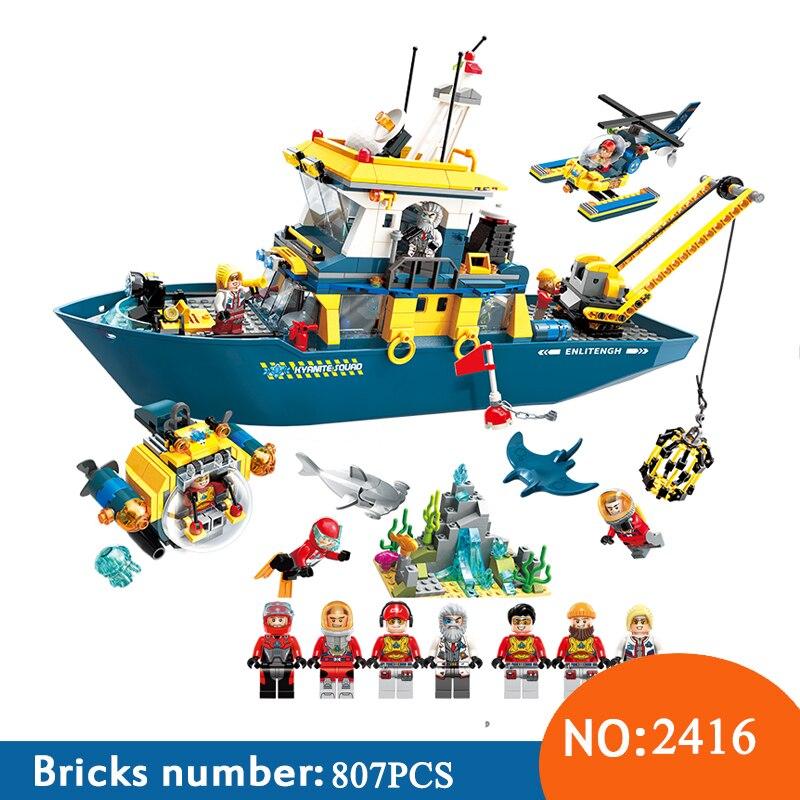 Éclairer 2416 807 pièces Ville Plongée Longeron Requin Minière Commandement Delta Bateau Blocs De Construction Jouets Pour Enfants