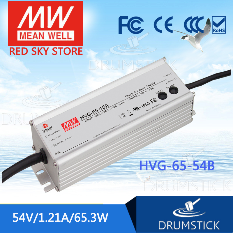 MEAN WELL HVG-65-54B 54V 1.21A meanwell HVG-65 54V 65.3W Single Output LED Driver Power Supply B type mean well hvg 150 54b 54v 2 78a meanwell hvg 150 54v 150 12w single output led driver power supply b type