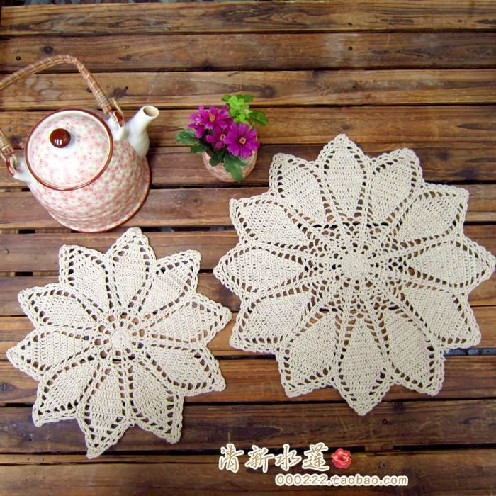 Free Shipping Cotton Crochet Lace Round Disc Pad Cotton Coaster For