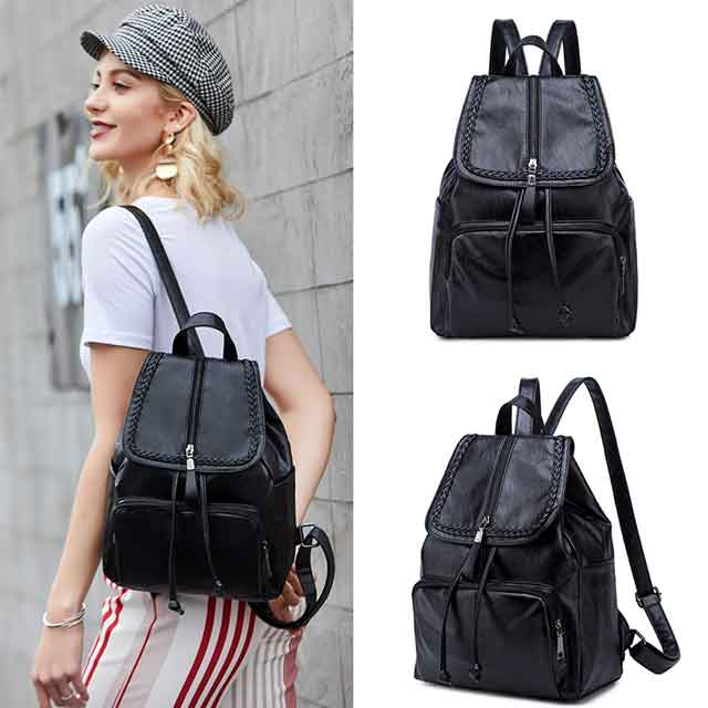 FULANPERS Backpack Female Cute Womens Design Crossbody Bag Fashion Kpop Ladies Pu Black