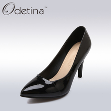 Odetina Sexy Women Super High Heels Pumps Simple Office Ladies Pointed Toe Stiletto Heel Dress Shoes Black Women Basic Pumps