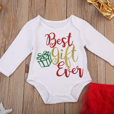 33b20c86f9f3 Pudcoco Newborn Baby Christmas Girls Best Gift Ever Top Romper Xmas Tutu  Shorts 3Pcs Outfits Set Clothes 0 24M-in Clothing Sets from Mother & Kids  on ...