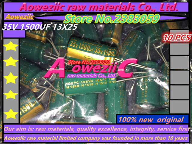 Aoweziic 10 sztuk 35 V 1500 UF 13X25 wysokiej częstotliwości o niskiej rezystancji kondensator elektrolityczny 1500 UF 35 V 13*25