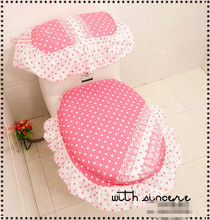 3pcs/set High quality Toilet three piece set cotton pink polka dot toilet seat cushion Bathroom Lace Toilet Pad Mat tank cover