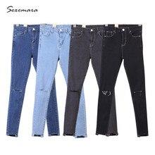 Узкие джинсы высокая талия женщин Высокого стрейч Разорвал отверстие карандаш узкие Джинсы Брюки лето 2017 высокое качество синий серый черный цвет