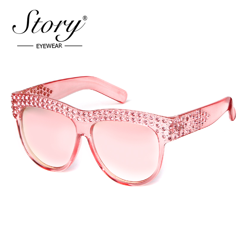STORY One Piece <font><b>Len</b></font> Sunglasses For Women Transparent Rhinestone Glasses Pink Black Luxury Oversized Sun Glasses Female image