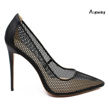 Aiyoway 2019 Women Shoes Ladies Pointed Toe High Heels Pumps Black Fabric Mesh Autumn Spring Party Wedding Slip-On