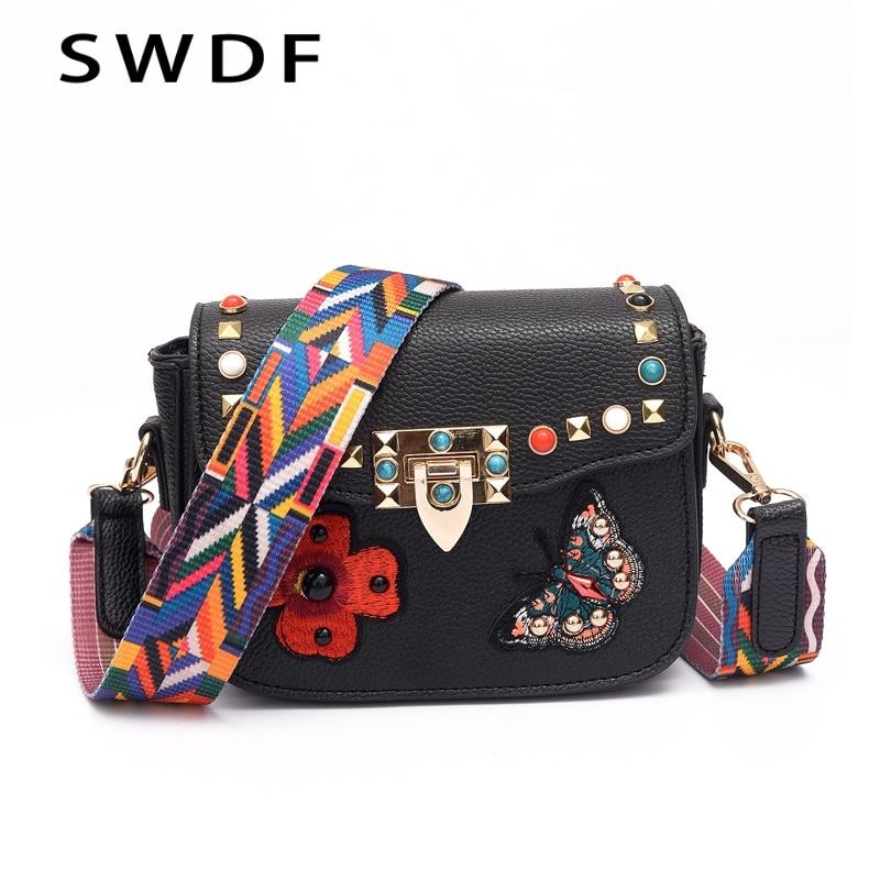 2017 Hot Sale Woman Messenger Bags Retro Leather Color Shoulder Strap Womens Handbags Ladies Designer Rivet Flap Shoulder Bag