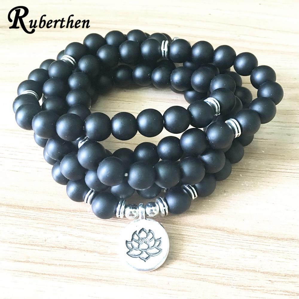 Женский матовый браслет из черного оникса Ruberthen, браслет из 108 бусин или ожерелье из натурального камня для йоги, новый дизайн