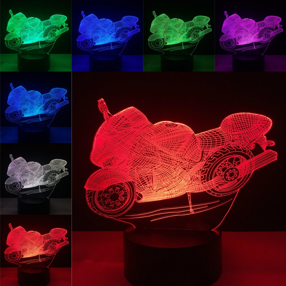 Fashion Motorcycle Shape 3D Illusion Night Light USB RGB Colors Change Touch Table Desk Bedroom LED Lamp For Boy Kids Gifts