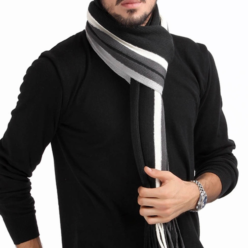 Men Winter   Scarf   Striped   Scarf   Foulard Fall Fashion Men   Wrap   Knit Cashmere Bufandas Striped   Scarf   with Tassels A30