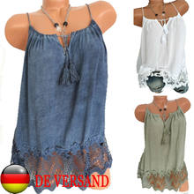 Women's Summer Loose Strappy V-Neck Sleeveless Lace Tank Top Vest T-Shirt Blouse(China)