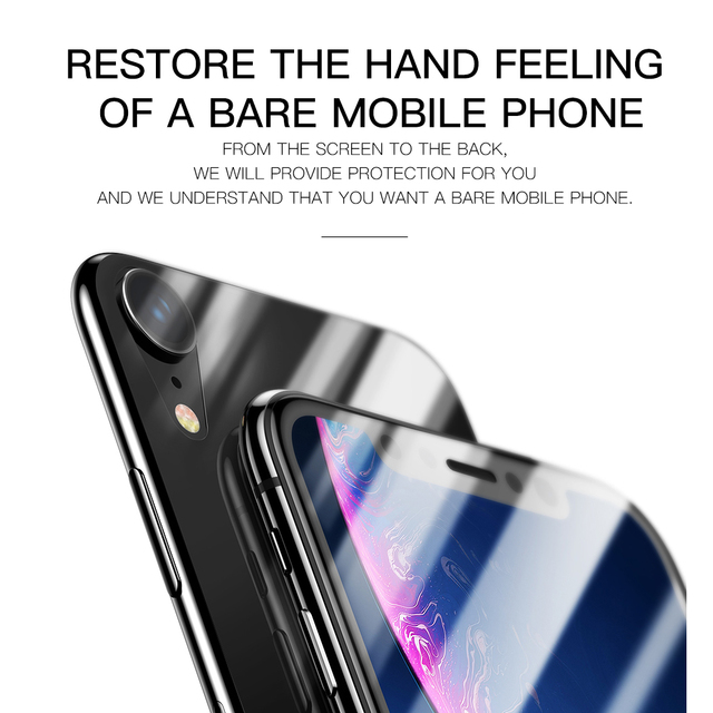 Baseus iPhone XR 0.3mm Front Back Tempered Glass Screen Protector