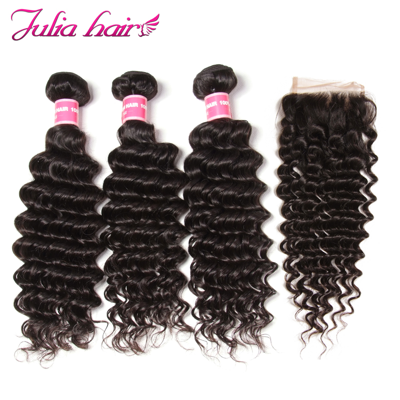 Ali Julia Hair Remy Human Hair Bundles With Closure Brazilian Deep Wave Bundles With Closure Free Part Lace USA Domestic Return-in 3/4 Bundles with Closure from Hair Extensions & Wigs    1