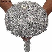 JaneVini Luxury Bridal Bouquets for Wedding Party Artificial Rhinestone Crystal Bride Brooch Women Accessories Ramo De La Boda