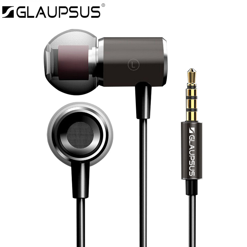 Metal Earphones GLAUPSUS GM2 Super Bass earphone with Microphone Hifi Headsets for phone computer MP3 3.5mm In-ear Original glaupsus gj01 in ear 3 5mm super bass microphone earphones earplug stereo metal hifi in ear earbuds for iphone mobile phone