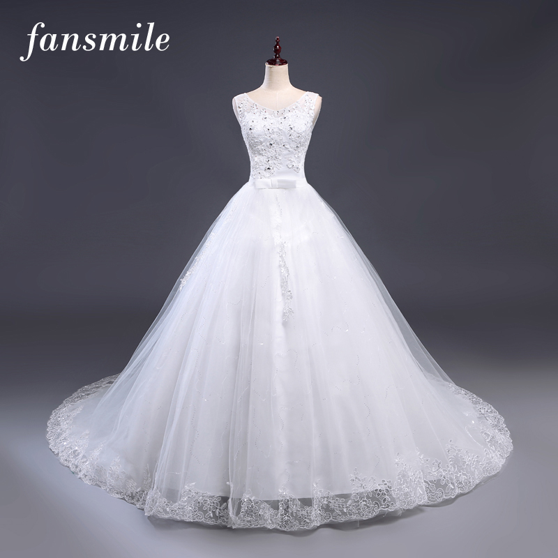Fansmile Cheap Plus Size Lace Long Train Wedding Dresses 2020 Vintage Bridal Ball Gown Vestidos De Noiva Free Shipping FSM-202T