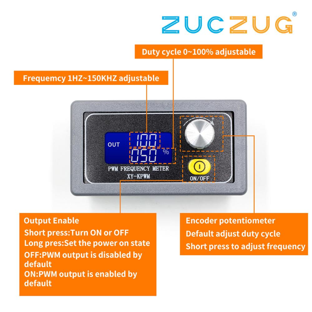 XY-PWM Signal Generator 1-Channel 1Hz-150KHz PWM Pulse Frequency Duty Cycle Adjustable Module LCD Display