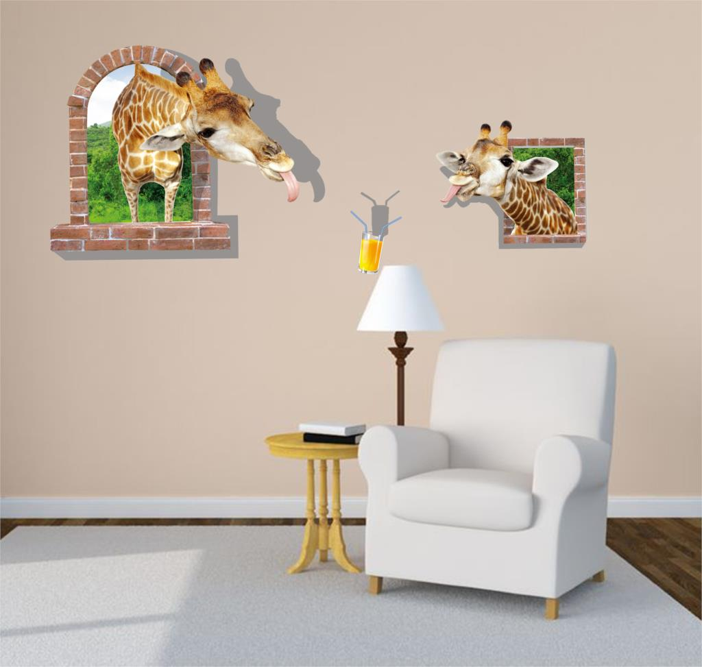 NEW Large 3d Cosmic Giraffe Animal Wall Sticker Star Home Decoration For Kids Room Floor Living Room Wall Decals Home Decor 2