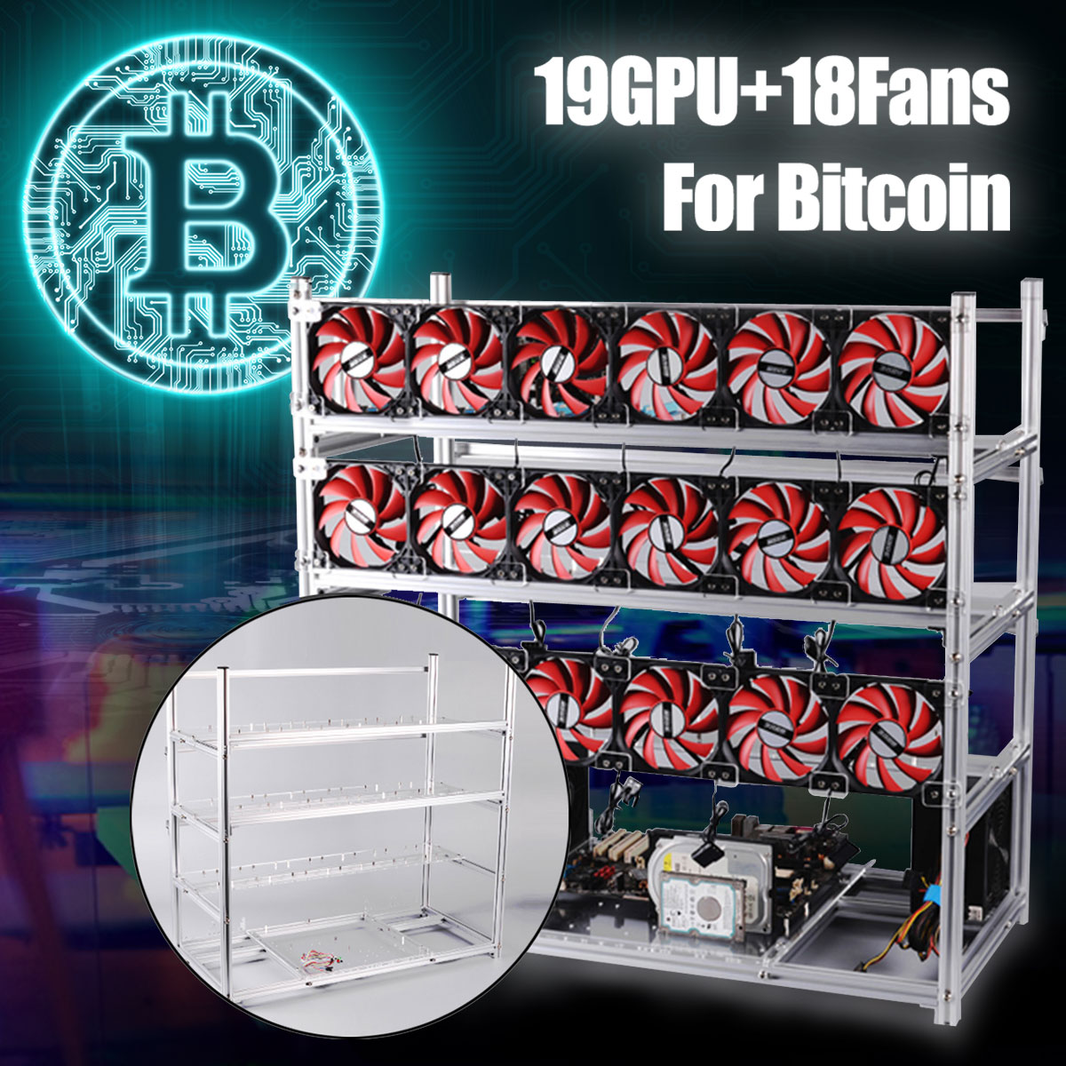 19 GPU Mining Rig Aluminum Stackable Case Open Air Frame ETH/ZEC/Bitcoin Support 18 Fans
