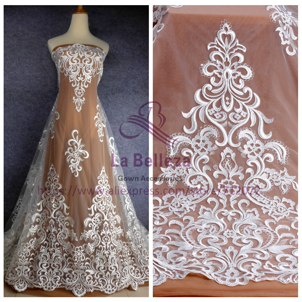 La Belleza off white clear sequins on mesh heavy embroidery hight quanlity bridel lace fabric 51