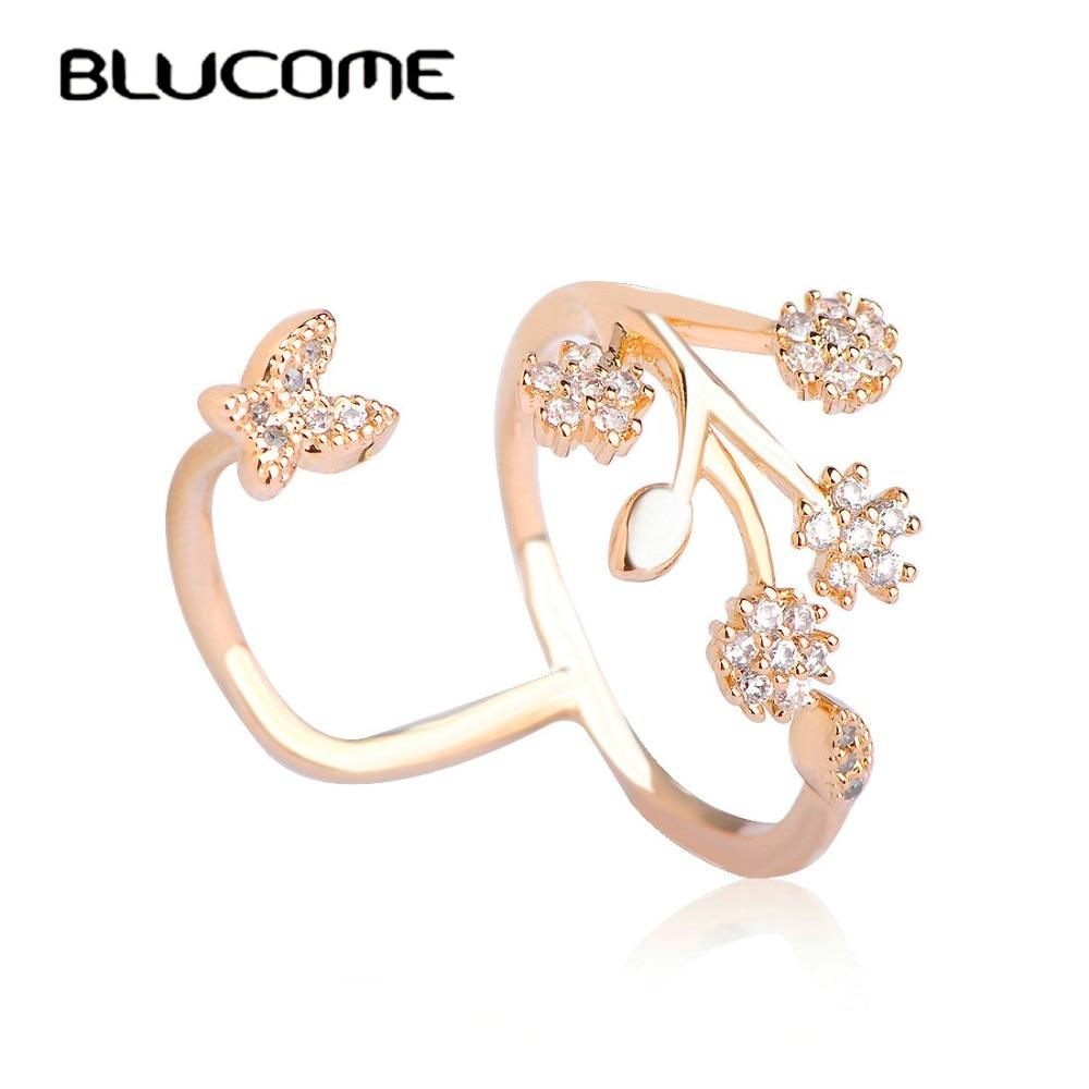 Blucome Luxury Rhinestone Copper Wedding Rings Butterfly Flower ...