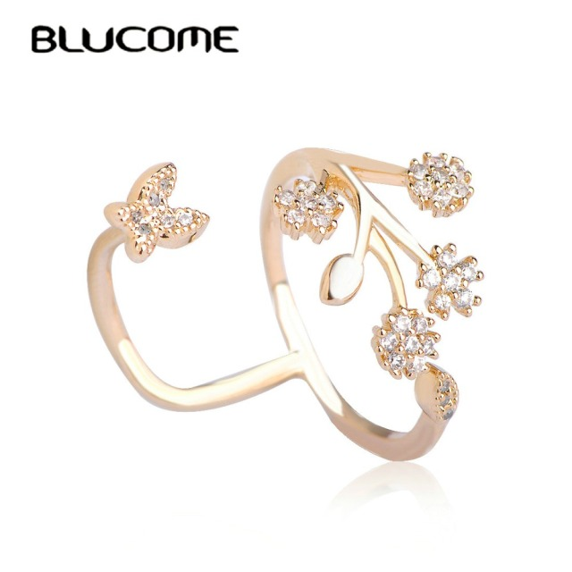 Blucome Luxury Rhinestone Copper Wedding Rings Butterfly Flower Couple Ring Adjustable Zircon Ring Female Only Lover Anel Bijoux