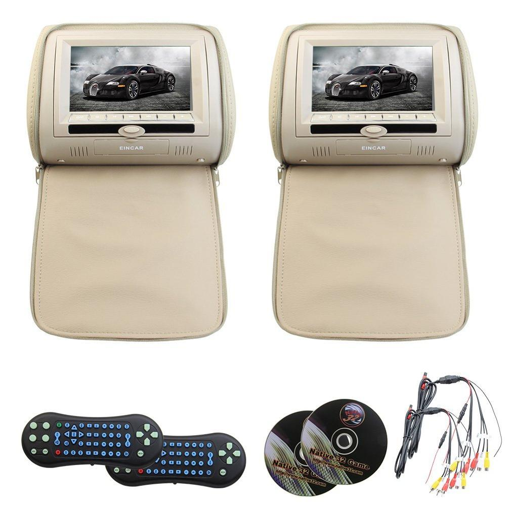 A Pair of HD screen car headrest dvd player monitor USB/DVD/CD/MP3/MP4 Support TV FM IR headrest Multimedia Player both dvd play купить в Москве 2019