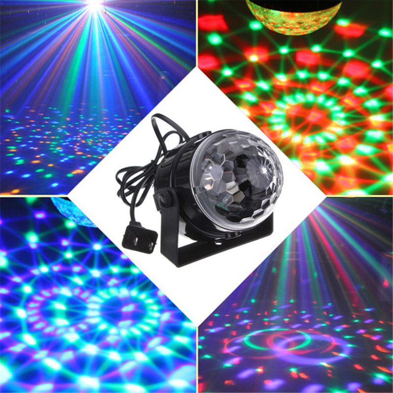 5W RGB LED Crystal Magic Ball Stage Effect Light Auto Voice Control DMX Laser Projector Disco Party DJ Club KTV Lamp mlb 3 magic ball style 4w auto rgb led stage light black ac 90 240v
