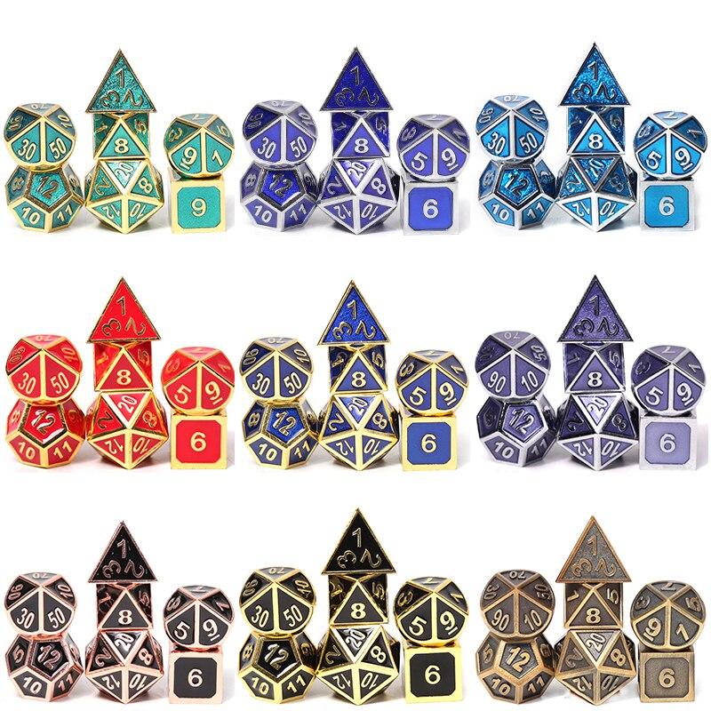 Chengshuo conjuntos de metal poliédrico dice rpg jogos de mesa dnd dungeons and dragons dices azul liga de Zinco padrão digital d20 10 8 12