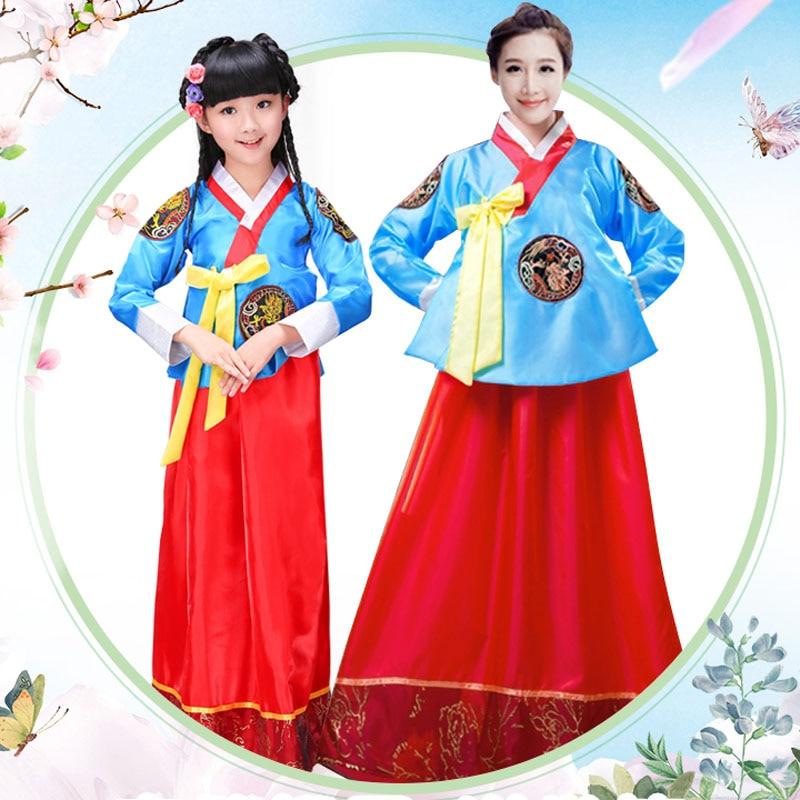 Women girl kid oriental Traditional Korean clothing costume New Year Minority Dance Performance Dress  Hanbok dress 4 colors