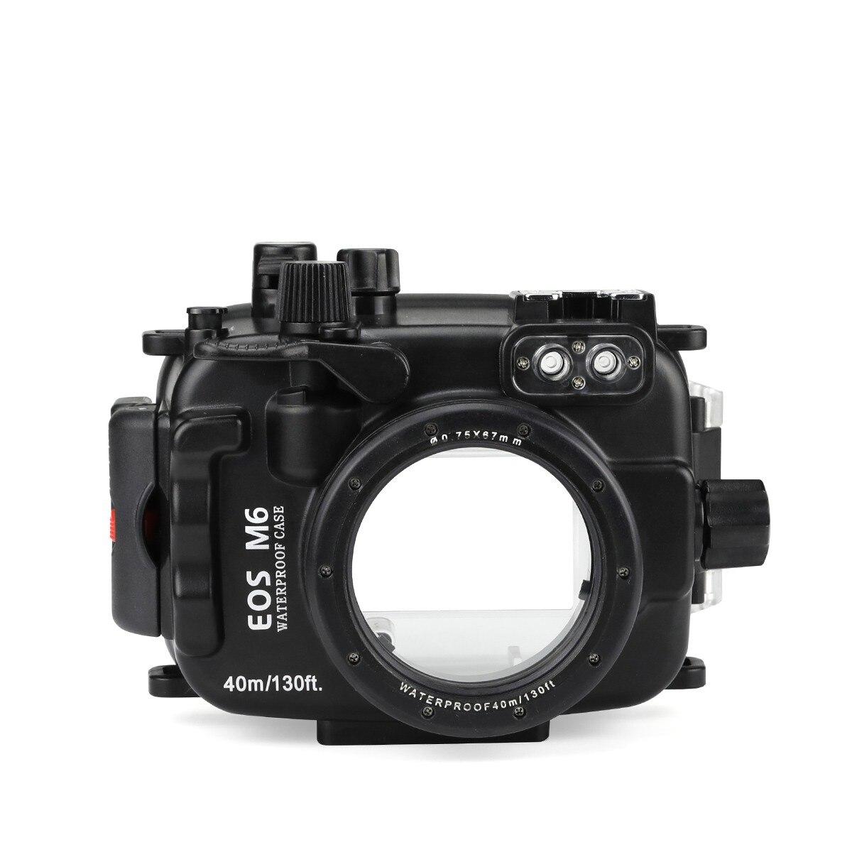 Fonds marins 40 m/130ft boîtier de plongée sous-marine pour Canon EOS M6 22mm objectif étanche sacs pour Canon EOS M6 22mm