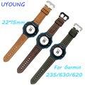 Para garmin forerunner 220/235/620/630/735xt smart watch de alta qualidade pulseira de couro matagal 22 * pulseira de 15mm para garmin