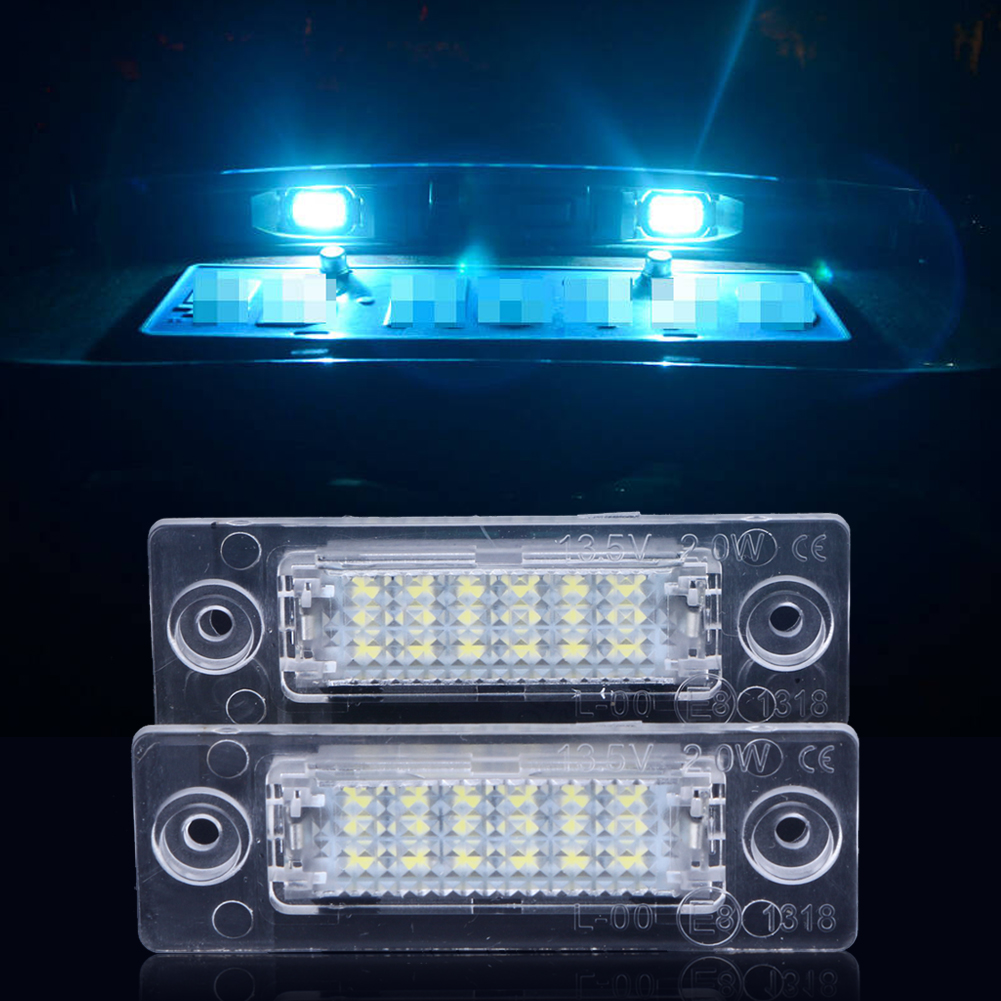 2Pcs/lot License Number Plate Light Lamp 18-LEDs License Plate Bulbs For VW Caddy Transporter Passat Golf no error car led license plate light number plate lamp bulb for vw touran passat b6 b5 5 t5 jetta caddy golf plus skoda superb