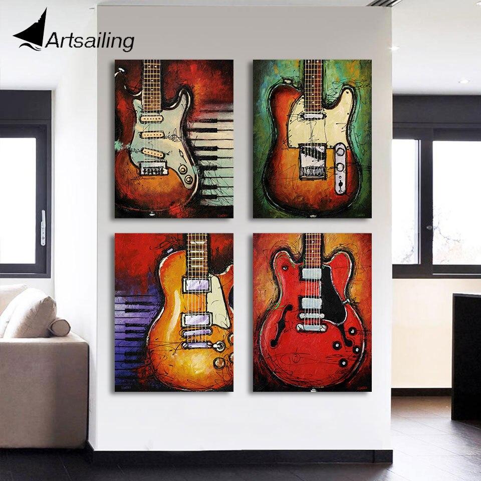 HD Gedruckt 4 Stck Leinwand Kunst Abstrakte Malerei Gitarre Wandbilder Fr Wohnzimmer Moderne Kostenloser Versand