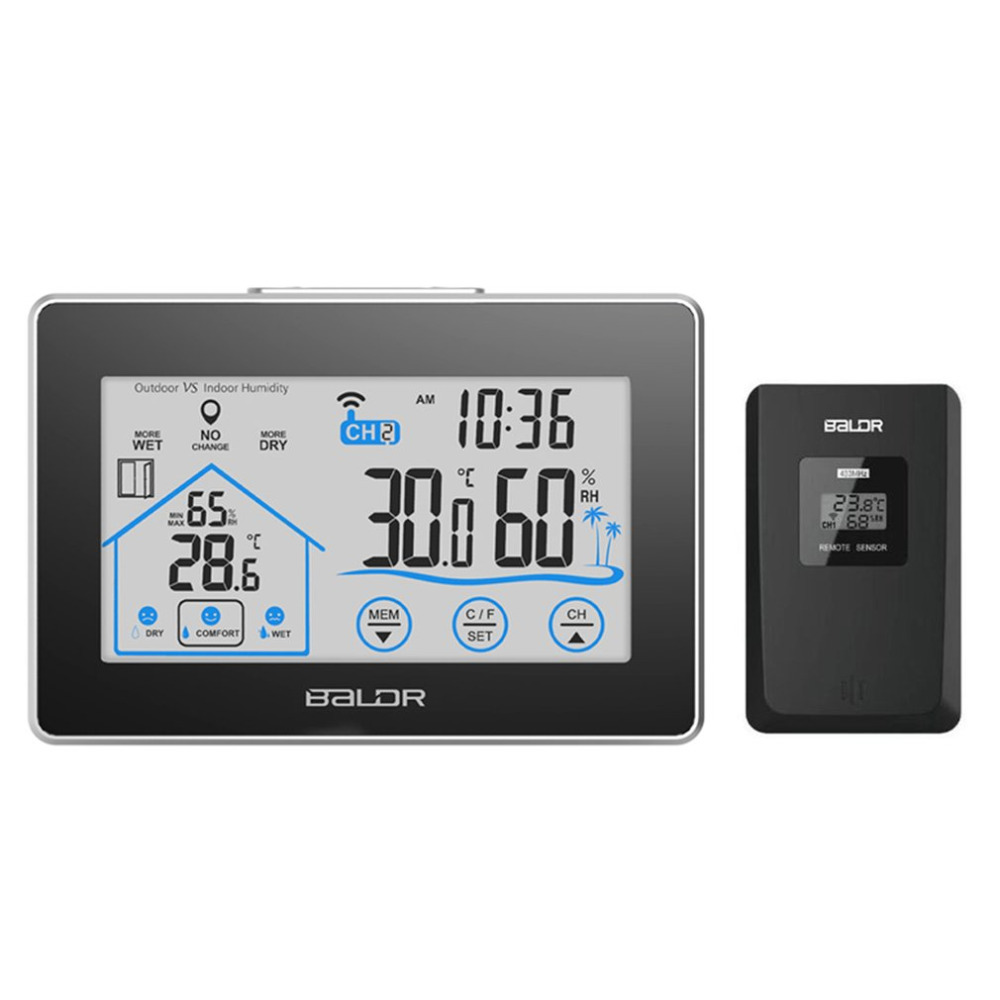 BALDR B0317H2T-2 Digital Weather Station Wireless Touch Screen Wall Clock Indoor Outdoor Moisture Temperature Meter