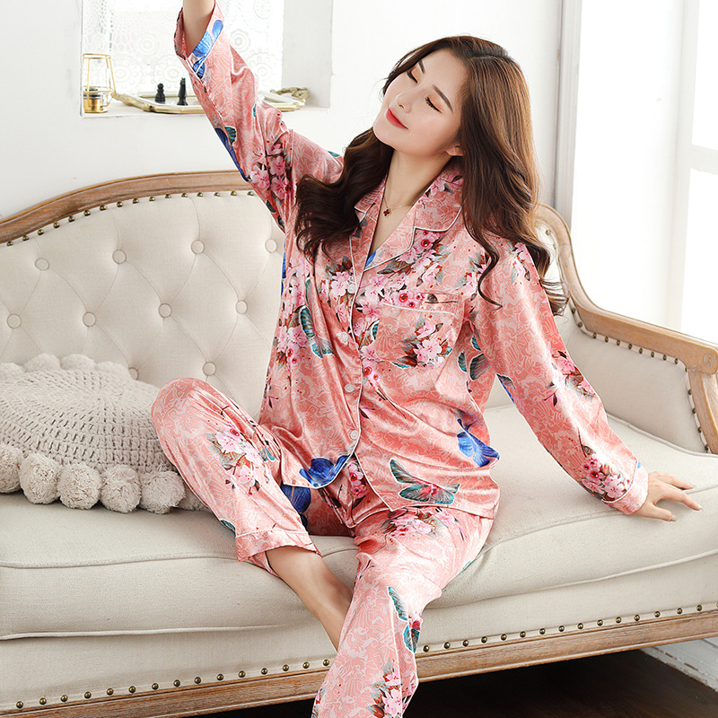 Image 3 - QWEEK Womens Satin Pajama Two Piece Autumn Long Sleeve Women Nightwear Set Cardigan Plus Size Sleepwear Print Loungewear Women-in Pajama Sets from Underwear & Sleepwears