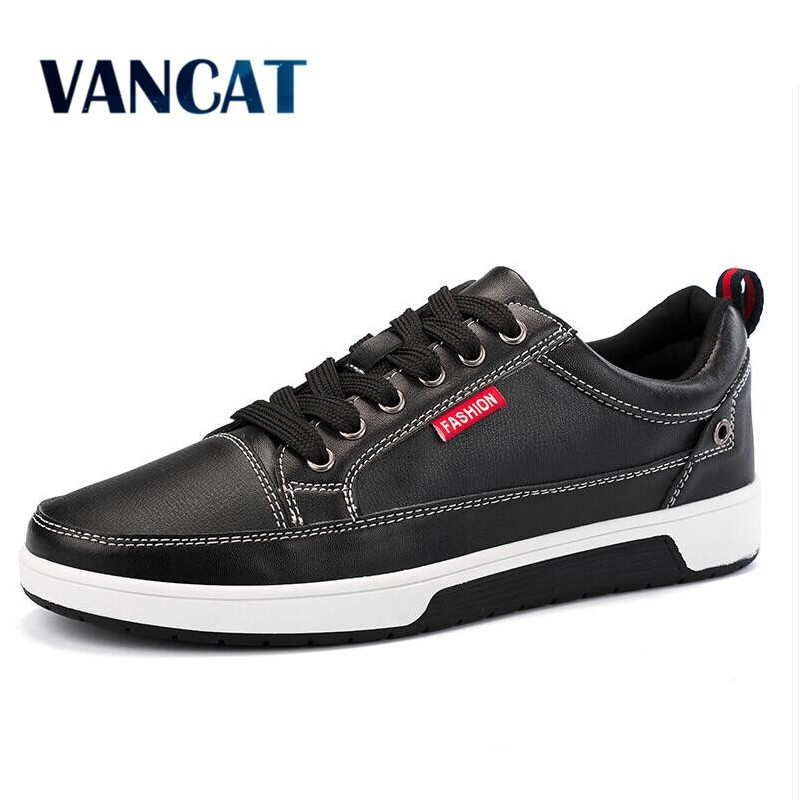 VANCAT Men's Leather Casual Shoes Classic Fashion Male Lace up Flats Black White Men Krasovki Flat Heel Sneakers tenis masculino 2017 male tenis flats lace up men casual shoes mens trainers flat goose shoes comfortable sport zapatillas hombre basket femme