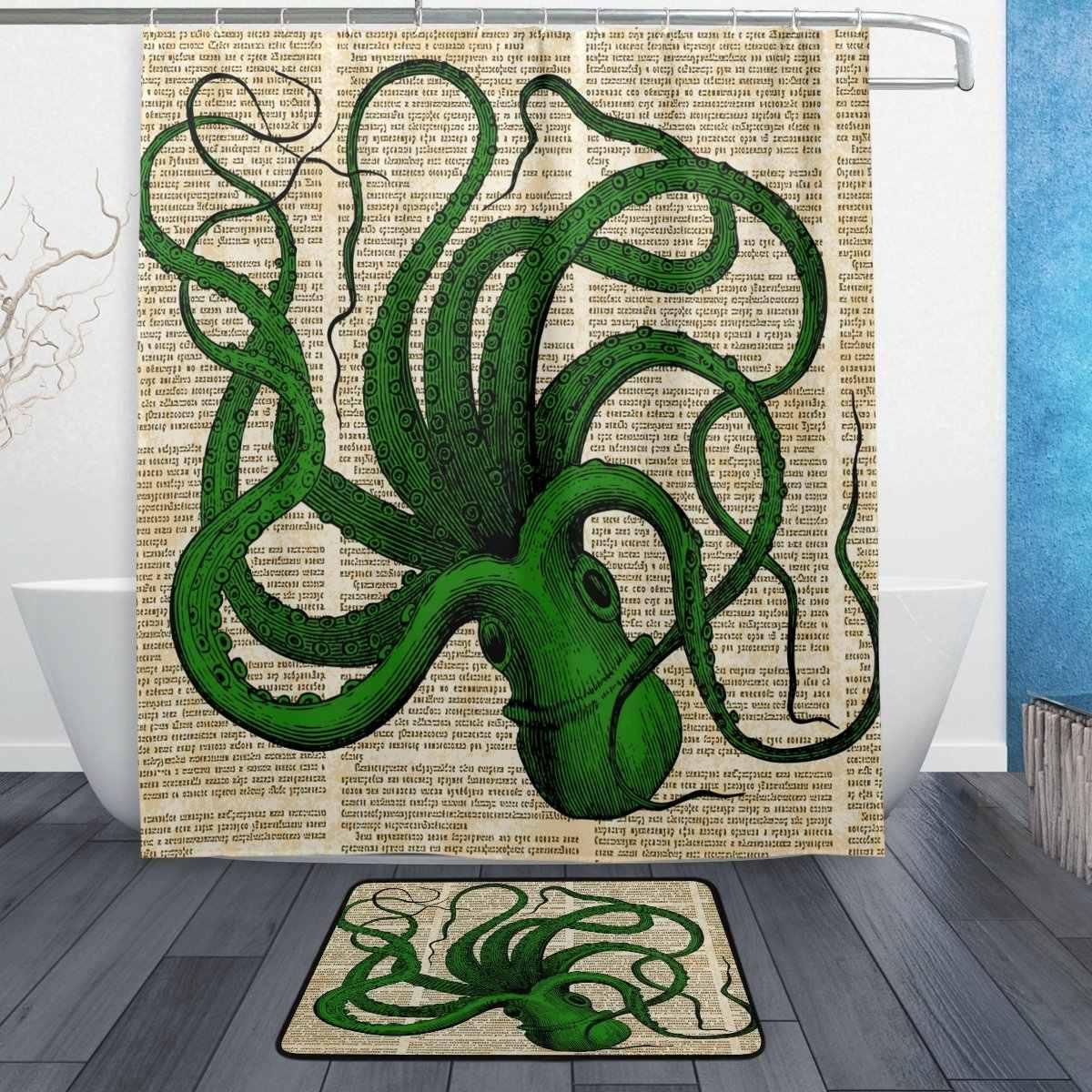 retro ocean sea octopus shower curtain and mat set vintage sea monster waterproof fabric bathroom curtain
