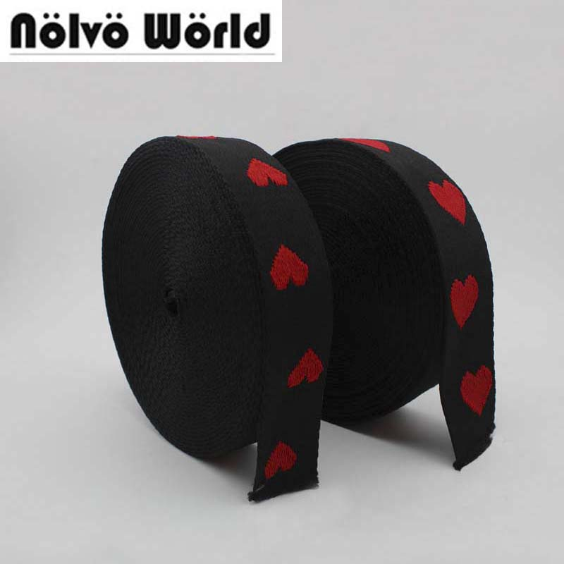 10yards 38mm 50mm wide black red hearts acrylic cotton ribbon for fashion belts strap,sewing women bags purse shoulder straps ...