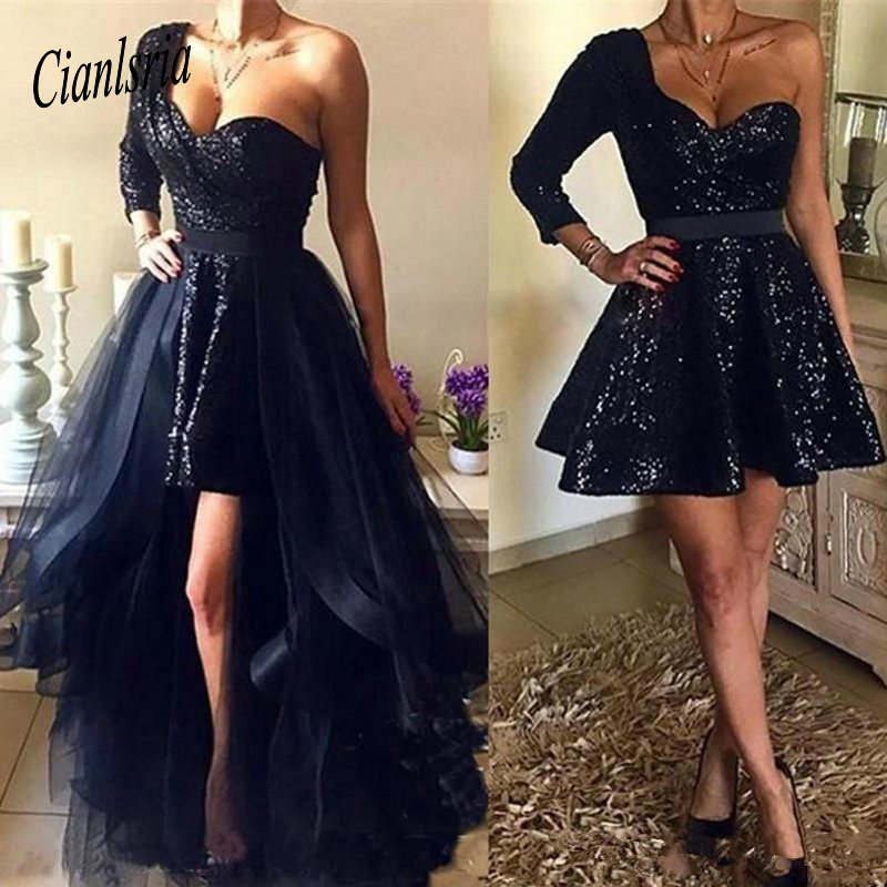 Dark Navy   Cocktail     Dresses   2019 One Shoulder Sequins Evening Gowns Over Skirt Cheap Short Prom Party   Dress