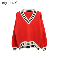 Rqueena Korean Sweater Knitted Autumn Winter Women Casual Top Loose Lanter Sleeve Pullovers V Neck Red