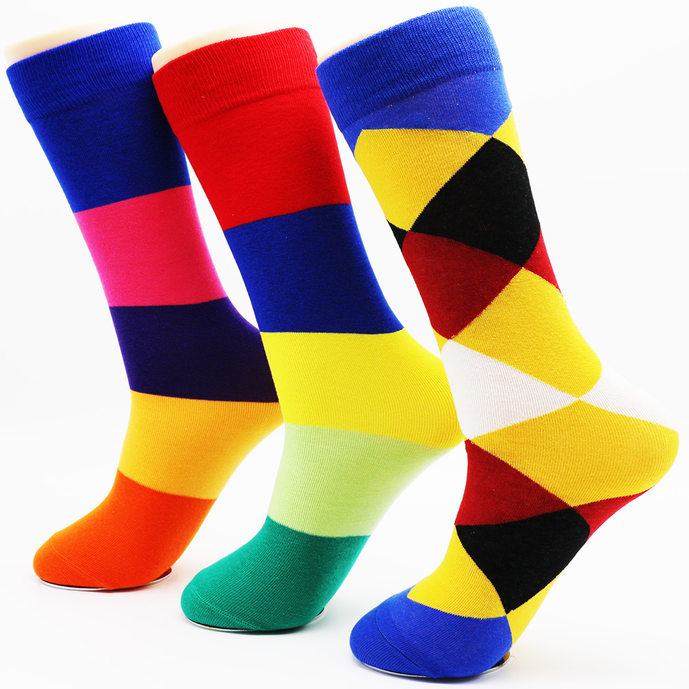 New mens funny fashion casual cotton socks man novelty long colorful diamond socks Cheap-socks-wholesale (3 Pairs / Lot)