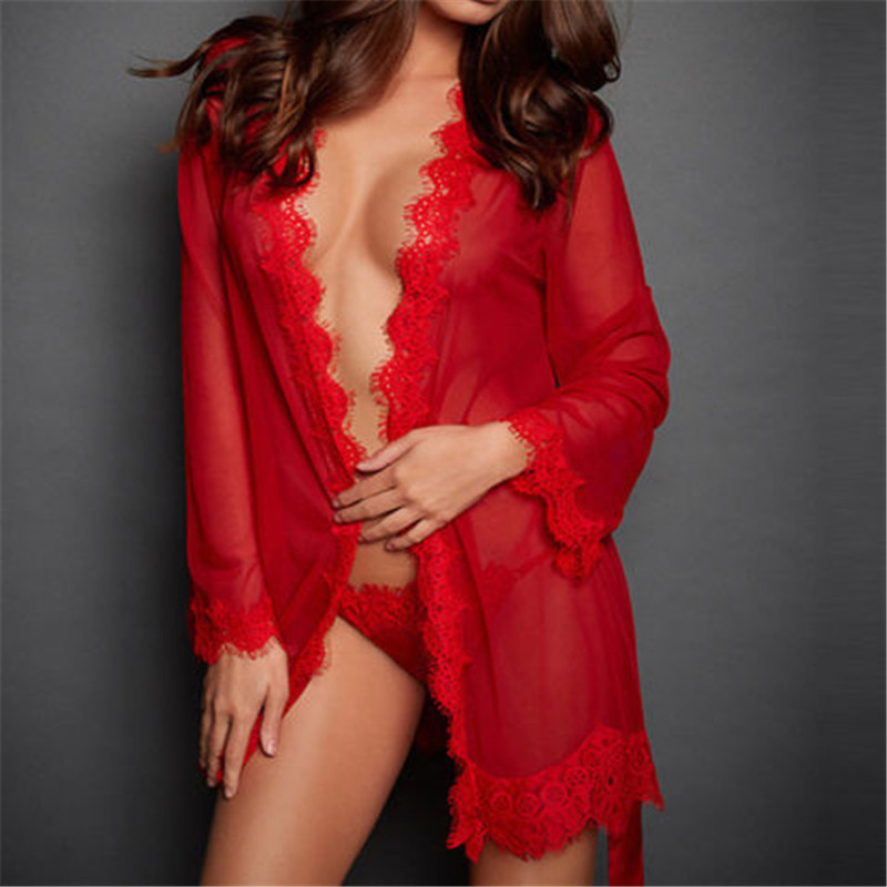 Sexy V-Neck Babydoll Ladies See Through Bath Robes Sleepwear Women with G-string Lace Sheer Night Dress Lingerie Robes