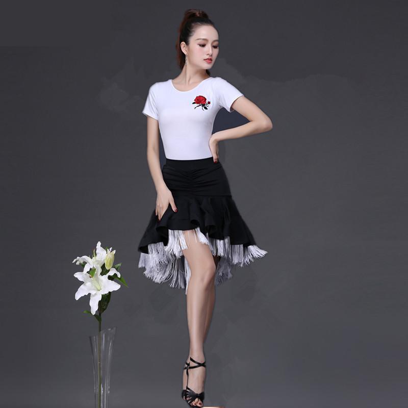 New Latin Dance Skirt Double Layers Design Adult Practise Competition Dance Skirt Tops Dance Fringe Skirt Latin Ballroom Costume