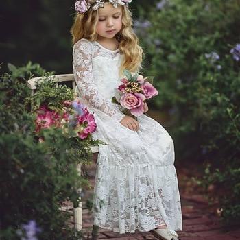 Age 2-12 Baby Kids Princess Dress Big Bow Long Sleeved Wedding Party Lace Long Dress 1