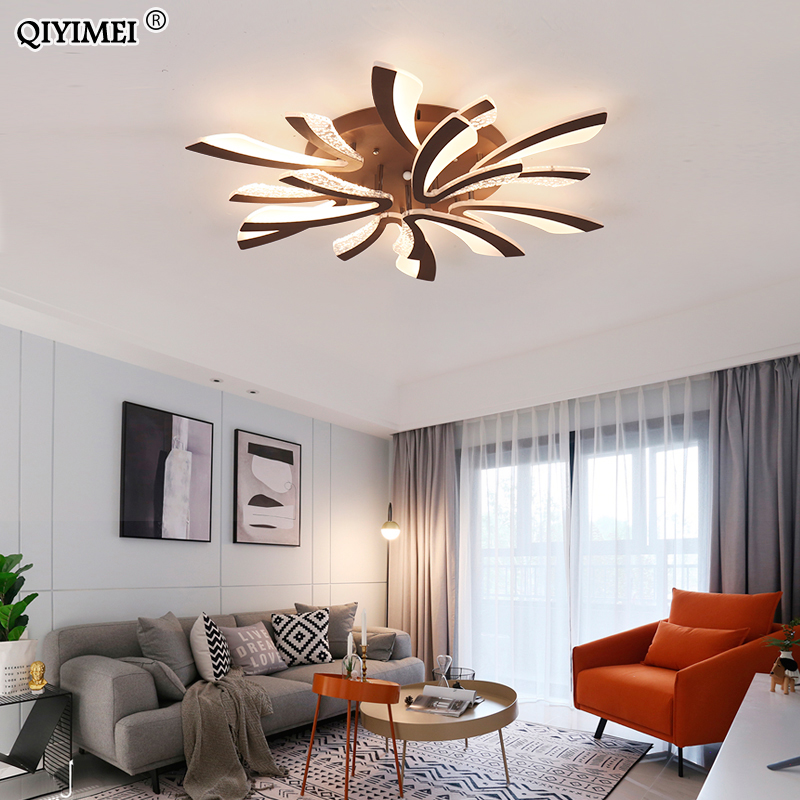 Modern LED ceiling chandelier lights for living room bedroom Dining Study Room White Black Body AC90