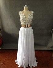 LF4 Vestidos de festa Echt 100% Sexy V-ausschnitt Weiß lange Abendkleid 2017 Sparkly Perlen Gold Gürtel Abendkleide Prom kleid