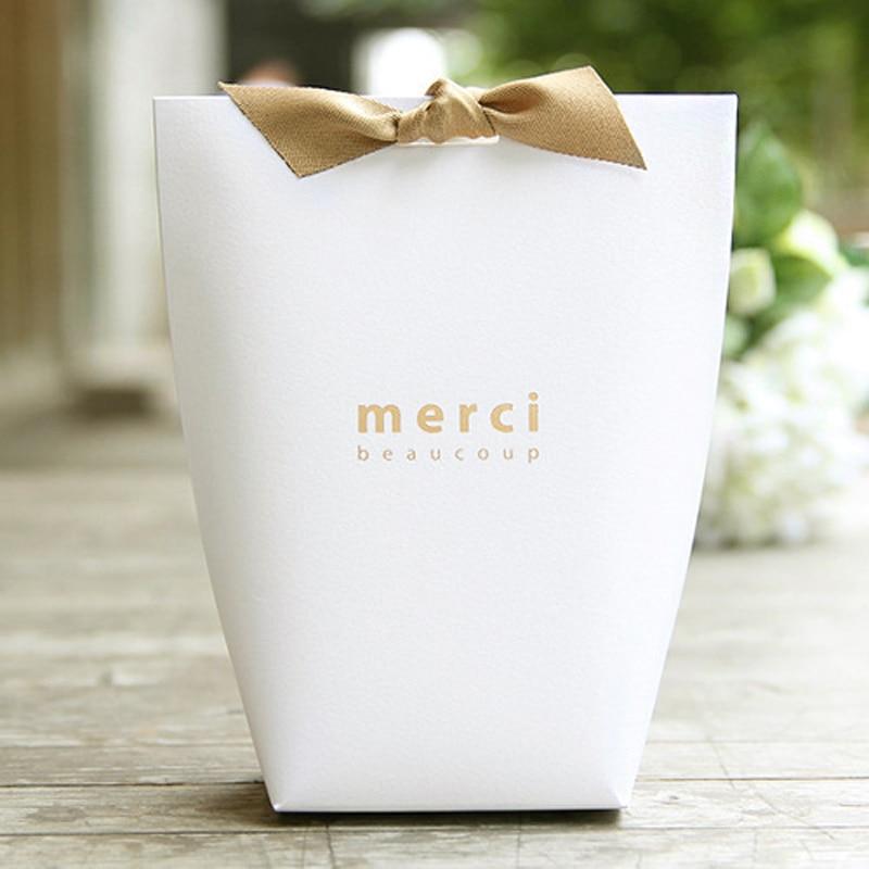 450 pcs/lot belle boîte à bonbons vierge noire Merci avec ruban grande taille blanc sans mots boîte de cadeau de faveur de fête d'anniversaire de mariage