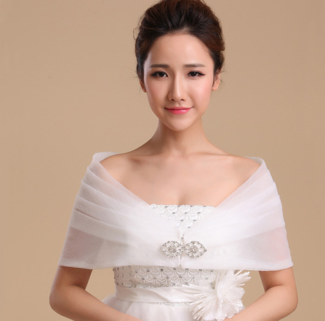 White Lace Shawl Wedding Wraps Accessories Organza Bolero Jacket Rayon Womens Shawls PJ039